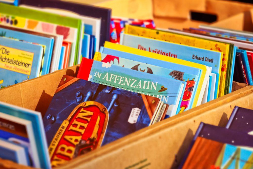 vieux livres dans des bacs